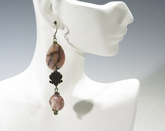 Earrings - Lots of Dangle and Sway Pink and Cream Marble Earrings