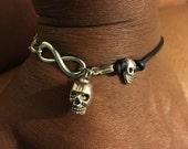 Black leather skull bracelet