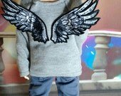 45cm MSD BJD Grey pullover with Wings
