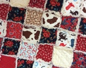 Baby Cowgirl Quilt Texas Rose Rag Style Newborn Bassinet Quilt Blanket 22X26 Ready to Ship