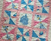 Cinderella Baby Quilt Pinwheel Quilt with Applique Custom Patchwork Princess Blanket 36X36 Ready to Ship