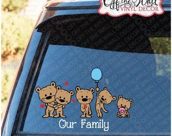 Cute Brown Bear Stick Figure Family Vinyl Car Decal Sticker