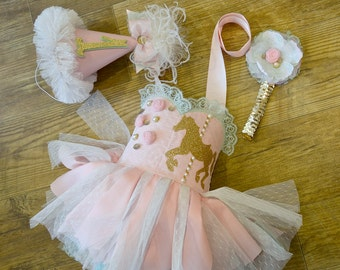 Pink & Mint Carousel themed dress 9-12mo