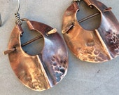 Copper Shield Earrings, Primitive and Distressed from Hammered Copper