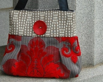 Handcrafted red chenille Handbag / Purse  : Amor with Button