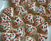 Pizza cookies - MINI food cookies - 2 dozen mini pizza cookies