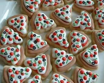 Pizza cookies - MINI food cookies - 2 or 3 dozen mini pizza cookies - decorated cookies