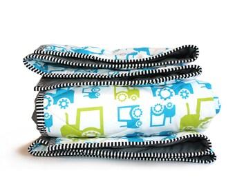 Baby boy crib blanket, FUN TRACTORS, farm baby bedding, baby nursery blanket, Blue Green Baby Blanket, baby boy quilt