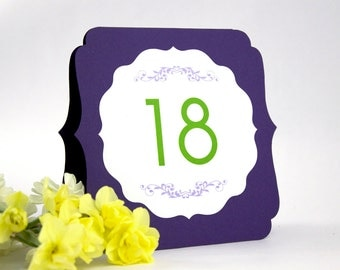 Table Number Tents - Large 2-sided number cards, elegant modern wedding event signs, self-standing tented or flat, many colors
