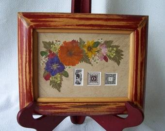 Vintage book illuminated letters J.O.Y. pressed flower art.