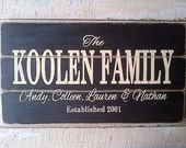 Personalized family name wooden sign by Dressingroom5