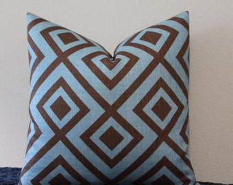 "David Hicks for Lee Jofa - Groundworks - 18"" x 18""  La Fiorentina Blue and Brown Geometric Print Pillow Covers"