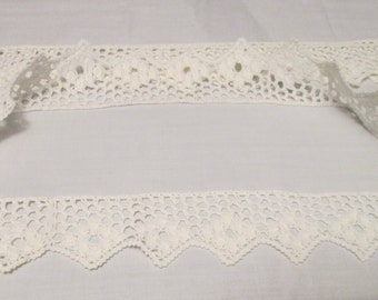 "Lace hand made crochet , set of two rounds for pillow cases, 39"" each"