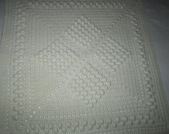 Hand made crochet, vintage, square pillow face, cotton,white