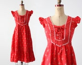 vintage 70s red praise dress, small boho dress
