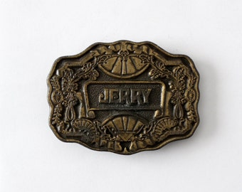 vintage brass buckle, name belt buckle, large Jerry plate style buckle,