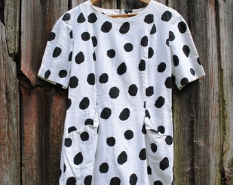 Vintage Polka-Dot Perfection Black and White Wiggle Mini Dress
