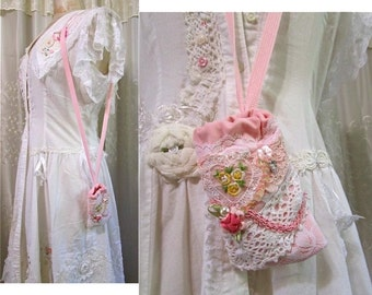 Shabby Necklace Pouch, pink lace bag, small cell phone, ipod shabby and chic, very small drawstring bag