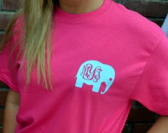 Elephant Monogram Tee - Short Sleeve - Sorority Gift  - Bridesmaid Gift