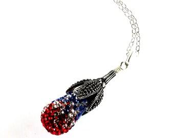Red, White, and Blue Crystal Pave Pendant, Swarovski Pendant, Teardrop Pendant, Sterling Silver, Patriotic Pendant