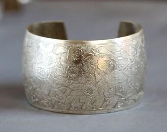 Sale Flower Blossom Bracelet,Victorian Floral Cuff,Silver Bracelet,Cuff Bracelet,Silver,Bracelet,Wedding,Bride.Gift for her