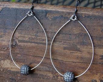 Hand Made Sterling Silver Hoop & Pave Rhinestone Earrings