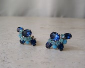Vintage Chunky Faux Blue Sapphire Rhinestone Clip On Earrings Christian Dior by Michael Maer Mid-Century Earrings Vintage 1950s
