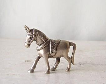 Vintage Sterling Horse Figurine Silver Bridled Horse Solid Sterling Silver Miniature Horse Statue Vintage 1970s