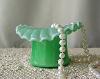 Vintage Ruffled Top Hat Miniature Bowl White Overlay Interior and Edge Art Glass Top Hat Vintage 1960s