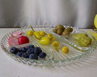 Vintage Glass Serving Dish Divided Sections Buffet Condiment Plate 1990s