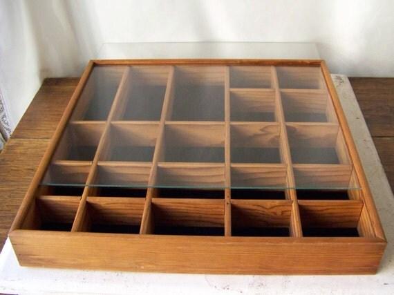 Vintage Display Case Shadow Box Oak Wood Curio Wall Display