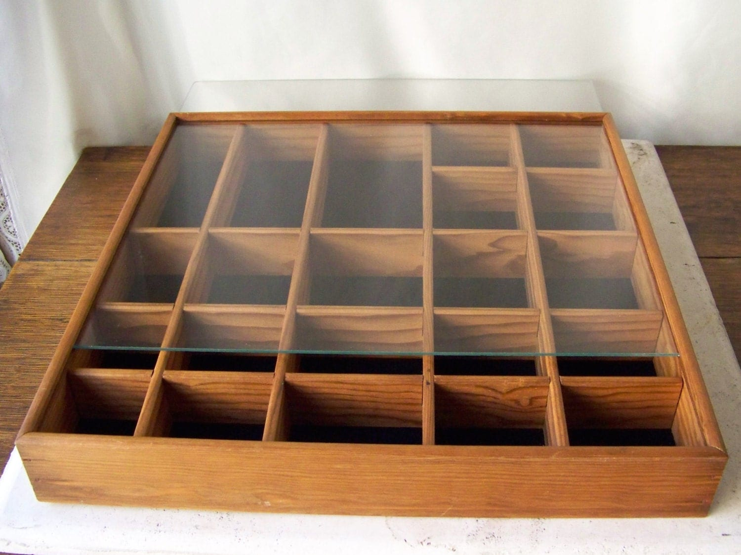 Vintage Display Case Shadow Box Oak Wood Curio Wall Display