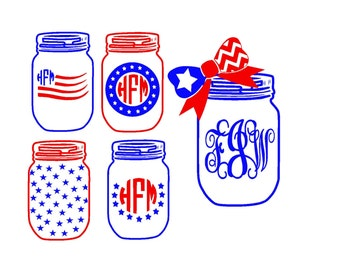 Fourth of July Mason Jars SVG or Silhouette Instant Download