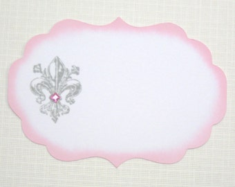 10 Paris Wedding Place Cards - Fleur de Lis Place Cards - Pink and Grey Wedding Place Cards -  Baby Shower - Bridal Shower