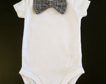 Baby boy black and white bow tie onesie 3, 6, 9, 12, and 18 month size