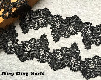 Black Lace Trim - 1.5 Yards  Black Flower Lace Trim (L498)