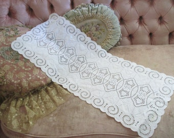 Vintage White And Ice Blue Embroidered Eyelet Lace Cutwork Style Runner Dresser Panel N148