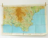 Dartmoor Map. Vintage Map. Devon, England.  English map. Home Decor. Office Decor. Large Map. Father's Day present