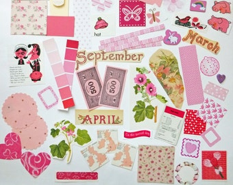 Pink Collage papers, Pink Paper Ephemera pack, Collage pack,  60 pieces paper scrap pack, Paper ephemera lot