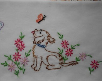 Pillow slips Hand embroidered NEW Puppies Butterflies Flowers pillowcase Standard size