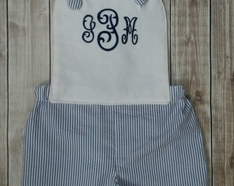 Newborn, Infant, Toddler and Big Boy Sunsuit with Monogram