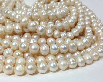SALE 8 to 10 mm Freshwater Pearls Potato Beads - White - Bridal Pearl - June Birthstone 0.5 mm hole (G5956W28)