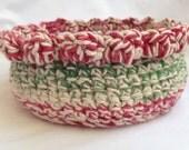 Crochet Basket - Vintage Christmas Colors