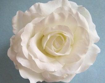 Full 5 inch White Silk Flower Rose Hair Comb