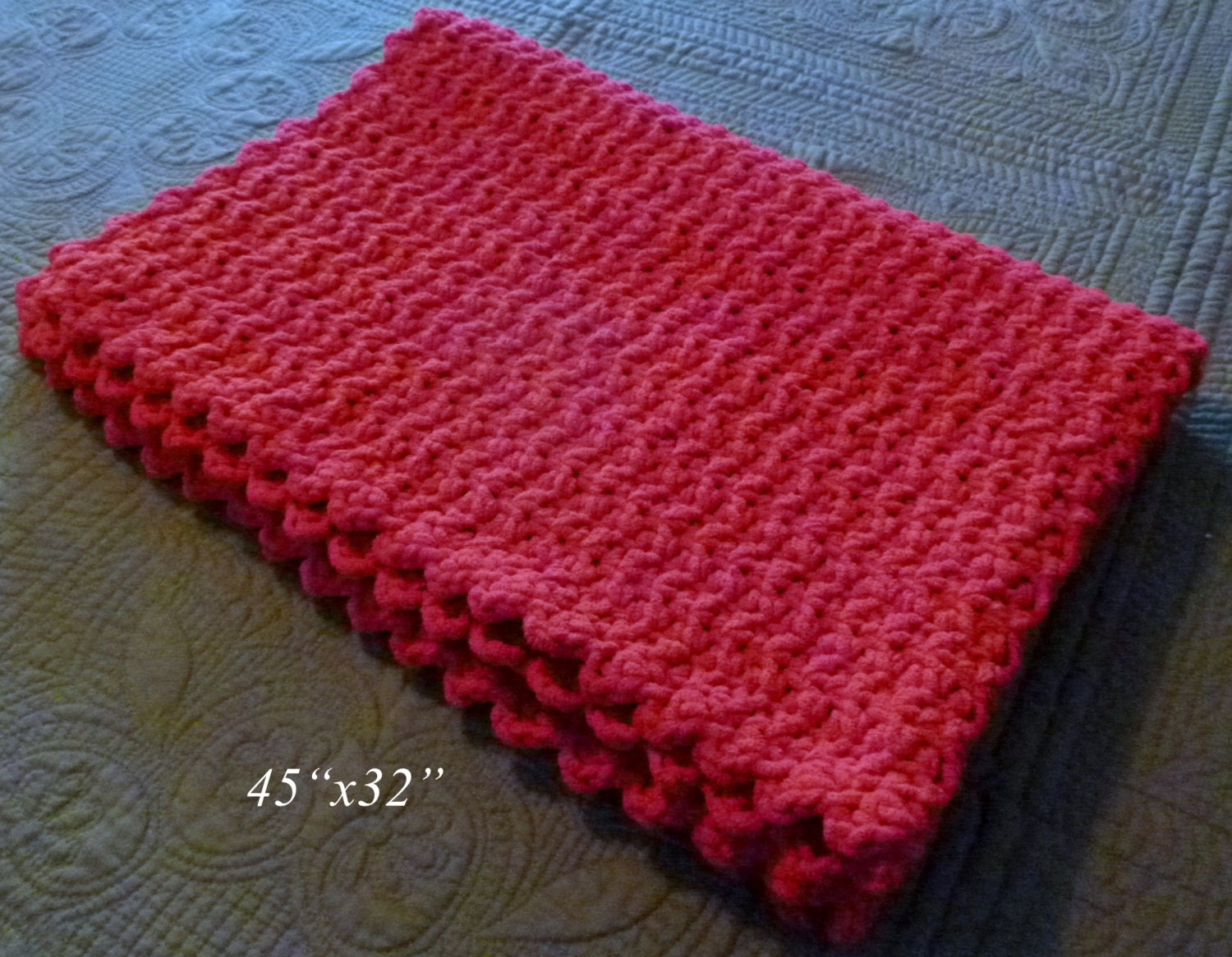 Crochet Patterns Super Bulky Yarn : Handmade Crochet Baby Blanket Super Bulky Baby Blanket by berly731
