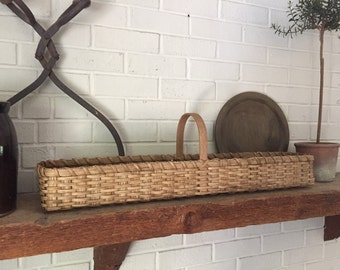Mantel Basket, Display Basket, Long and Narrow Basket, Skinny Basket, Rustic Country Decor, Farmhouse Decor