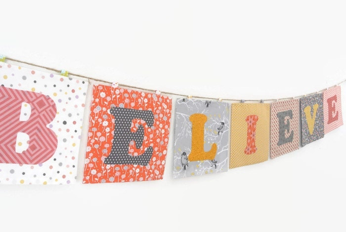 Custom Fabric Name Banner in the BELIEVE Collection