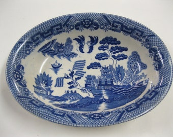 Blue Willow Design China Oblong Serving Bowl Marked Japan Vintage Collectible to Use and Display Favorite WWII Era China Blue and White