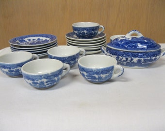 Child's Antique Blue Willow Porcelain China Dish Set Made In Japan 6 Cups, 6 Saucers, 6 Plates and Lidded Oblong Tureen Play Set to Treasure