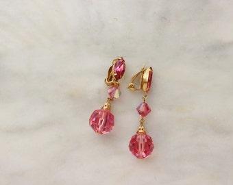 50s Rhinestone Pink Crystal Dangle Drop Earrings Clip